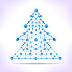 Blue molecule christmas tree.