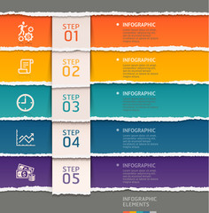 Abstract infographics template torn paper style.