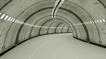 Futuristic interior tunnel