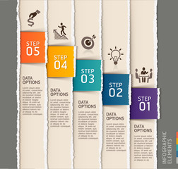 Modern infographics template torn paper style.