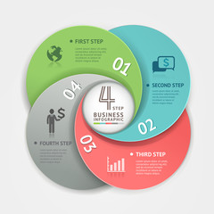 Abstract business circle Infographics origami style.