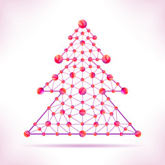 Red molecule christmas tree.