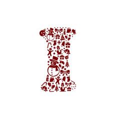 Christmas alphabet I on White Background