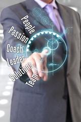 Businessman touching screen