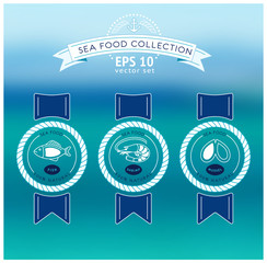Vector seafood label and sign on bluring sea background.