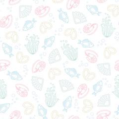 Vector seamless pattern. sea theme
