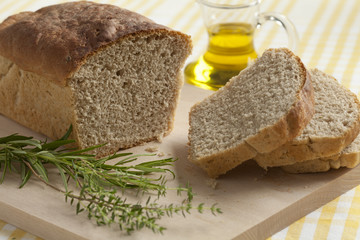 Homemade wheat and herbal bread
