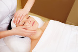 Facial treatment with professional massage of cosmetician poster