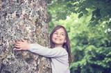 Girl under big Tree, retro