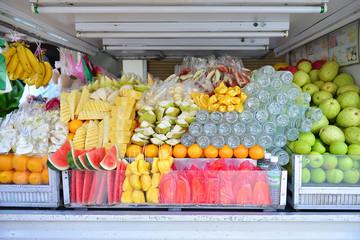 Fruits in car shop