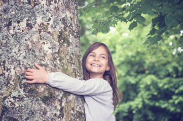 Girl under big Tree, retro