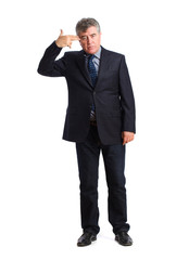 Businessman suicide gesture