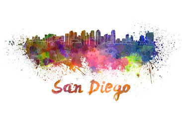 San Diego skyline in watercolor