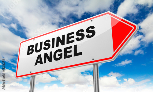 Business Angel on Red Road Sign.