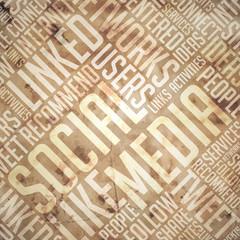 Social Media - Grunge Wordcloud Concept.