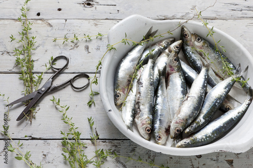 Deurstickers Vis sardines on dish with thyme on rustic background