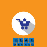flat design icon of removing items shopping cart - vector graphi poster