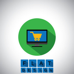 flat design icon of online shopping using desktop or PC - vector