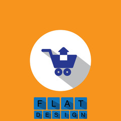 flat design icon of removing items shopping cart - vector graphi