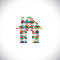 artistic colorful abstract home or house - concept vector.