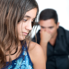 Teenage problems,teen girl and her worried father