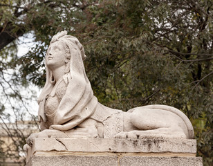 Egyptian Female Sphinx Stone Statue Retro Park Madrid Spain