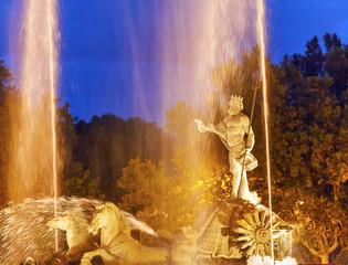 Neptune Chariot Horses Statue Fountain Night Madrid Spain