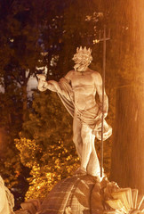 Neptune Statue Fountain Night Madrid Spain