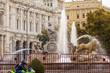 Cybele Chariot Lions Statue Fountain Plaza de Cibeles Madrid