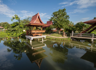 Traditional Thai wooden on the lake