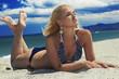 beautiful sexy blond woman on the beach.girl in bikini.summer