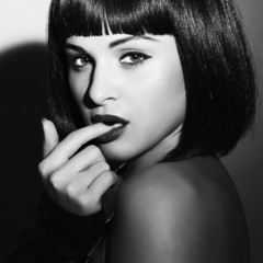 Beautiful Brunette Girl.beauty sexy woman.flirt.monochrome art