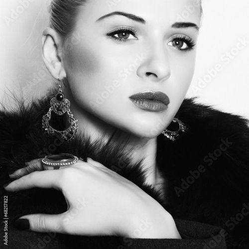 beautiful woman in fur.Winter fashion.Monochrome portrait