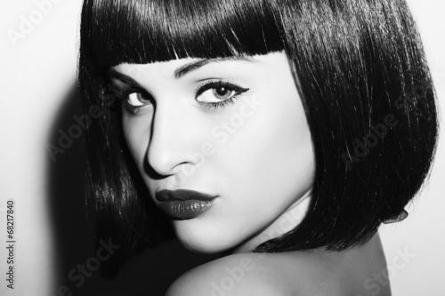 monochrome portrait.Beautiful Brunette Girl.Healthy Hair woman