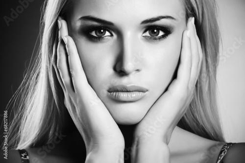 Beautiful Young Woman.Blond girl.Art monochrome portrait