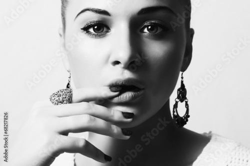 Beautiful Lovely Woman with Jewelry.Tender Beauty Girl.Manicure