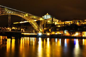 Dom Luis I Bridge over Douro River in Porto at Night