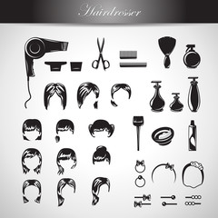 Hairdressing Equipment Icons Set - Isolated On Gray