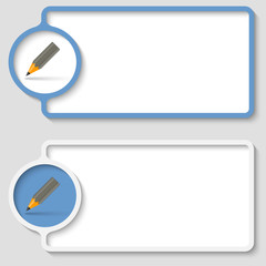 set of two abstract text frame with pencil