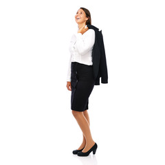 Beautiful business woman standing casual laughing