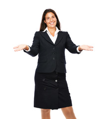 Business woman smiling and gesturing
