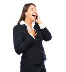 Business woman is laughing at the phone