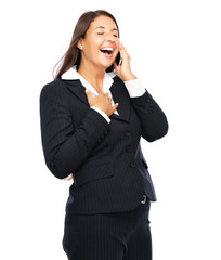Business woman is having a funny phone conversation