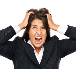 Business woman angry and stressed is frustrated