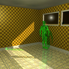 Green alien looking out the window