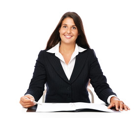 Business woman showing blank notebook