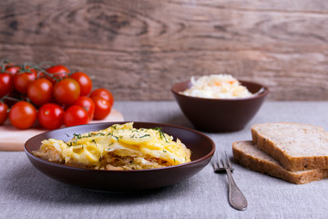 casserole with cabbage in ceramic dish