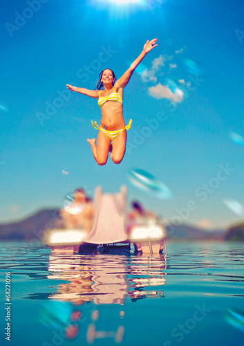 canvas print picture waterjumping