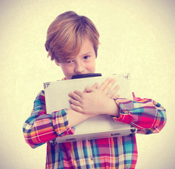 Selfish child with a briefcase