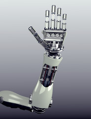 robot arm counting number 5 hand gesture